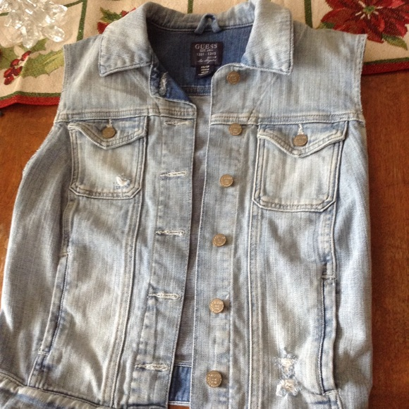 Vest Down Xs Button Guess Jean TFJc3lK1